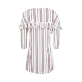 Chicloth Striped 3/4 Sleeve Shirt Dress