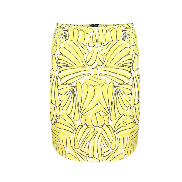 Chicloth Asymmetrical hem back zipper banana pattern digital print stretch skirt - Chicloth