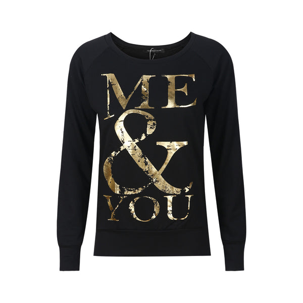 Chicloth Bronze Letter Me & You Print Sleeve Sweater Long Sleeve Sweater - Chicloth