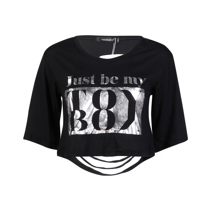 Chicloth Just be my Black Crop Top-Chicloth