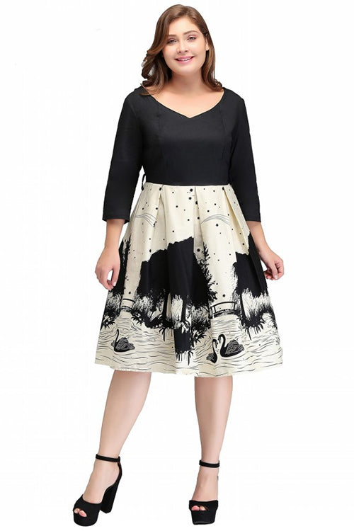 Plus Size Dresses Big Size Long Sleeve V Neck Swan Printed Elegant