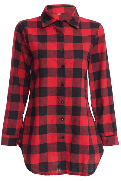 Chicloth New Wild Plaid Long Shirt Long Sleeve Casual Ladies Shirt 05