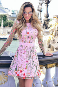 A| Chicloth Sexy Women Floral Embroidery Dress Skater Dresses