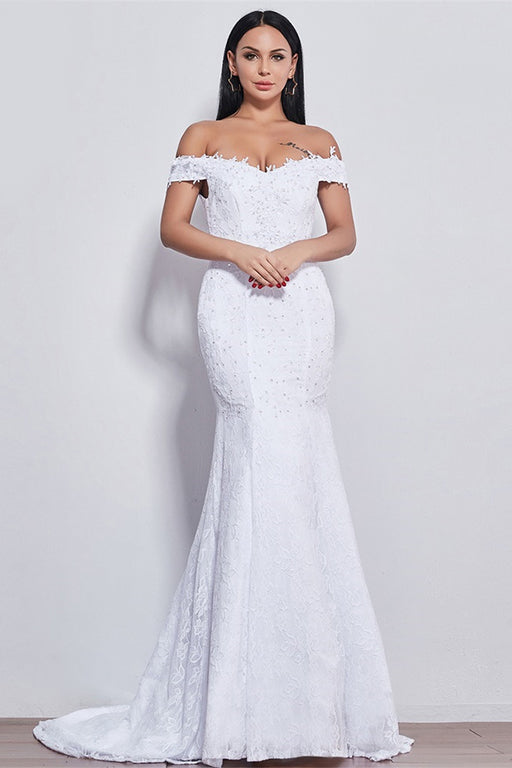 Chicloth New Style Boat Neck Beautiful Lace Wedding Dress