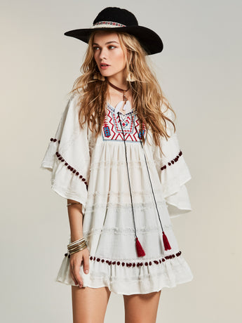 Chicloth White Embroidered Wide Sleeve Mini Dress