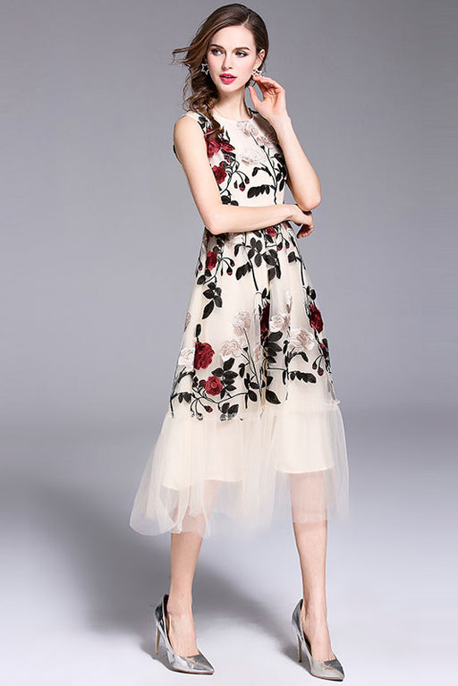 Women Sleeveless Floral Embroidery Elegant Party Dresses