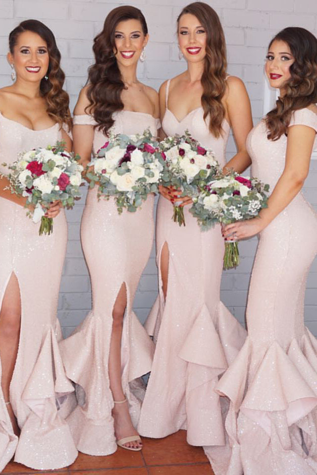 B/ Chicloth Mermaid Bridesmaid Dresses Pink Layers Train Sexy Dresses - Burgundy / US 16
