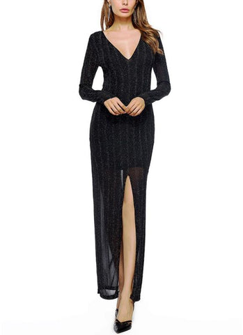 B| Chicloth Women Front Split Maxi Dress Deep V Neck Formal Party Long Dress-polyester,splitfront,anklelength,vneck,misses,longsleeves,maxidresses-Chicloth