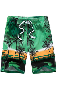 A| Chicloth Coconut Tree Lace Up Men's Swim Beach Board Shorts