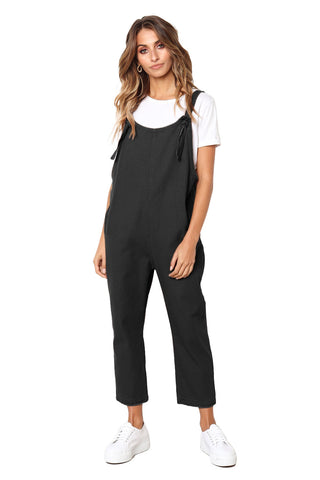 Z| Chicloth Black Pockets Dungaree Jumpsuit