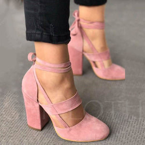 Chicloth Pink Lace-Up Round Toe Women'S Pumps-Chicloth