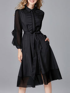 Black Daytime Casual Long Sleeve Paneled Solid Midi Dress