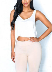 C| Chicloth O Neck Sleeveless Backless Asymmetry Hem Crop Top-vests-Chicloth