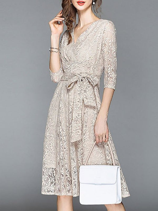 A-line Daily Lace 3/4 Sleeve Elegant Bow Lace Dresses-Lace Dresses-Chicloth
