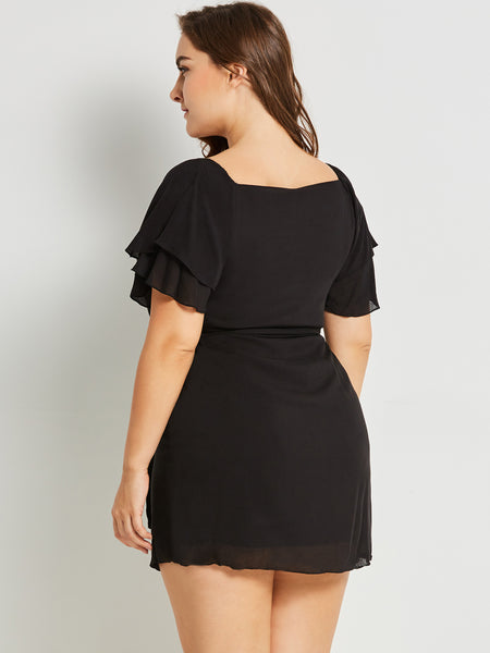 Chicloth Black Round Neck Plus Size Mini Dress