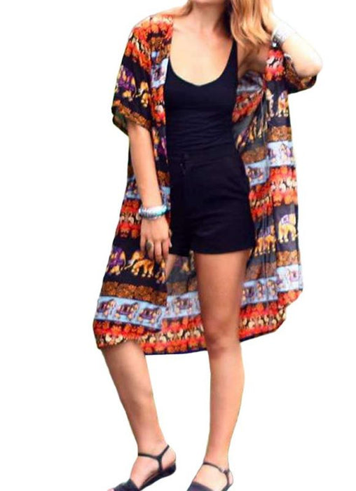 B| Chicloth Summer Cardigan Elephant Print Boho Loose Women's Kimono-nylon,polyester,coverup-Chicloth