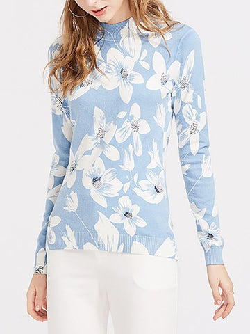 Blue Floral Casual Long Sleeve Stand Collar Sweater