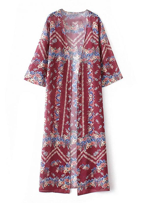 B| Chicloth Boho Floral Print Open Front Three Quarter Sleeve Loose Long Kimono-nylon,polyester,coverup-Chicloth