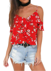 B| Chicloth Off The Shoulder Chiffon Spaghetti Strap Floral Flare Sleeve Women's Loose Tops