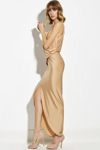 Chicloth Apricot String Open Back Maxi Dress - Chicloth