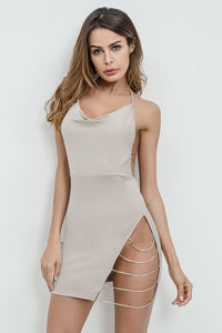 A| Chicloth Sexy Metal Chain Backless Bodycon Short Party Dress - Chicloth