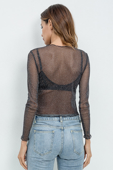 A| Chicloth Sexy Women T Shirt See Through Transparent Mesh Tops-Chicloth
