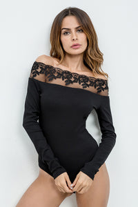 A| Chicloth Sexy Off Shoulder Lace Bodysuit Short Jumpsuit Rompers Long Sleeve-Chicloth