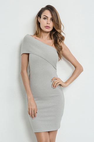 A| Chicloth Oblique Shoulder Bodycon Sweater Dress - Chicloth