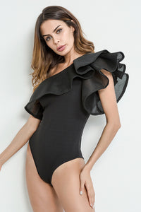 A| Chicloth Sexy One Shoulder Sleeve Jumpsuit Rompers Women Bodysuit-Chicloth