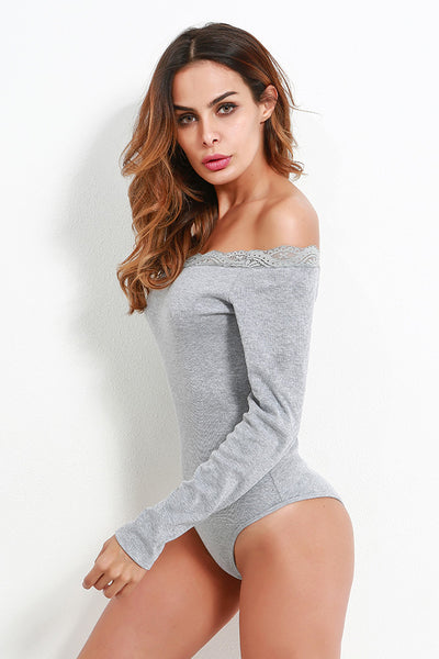 A| Chicloth 2018 Women Bodysuit Long Sleeves Off-Shoulder Bodycon-Chicloth