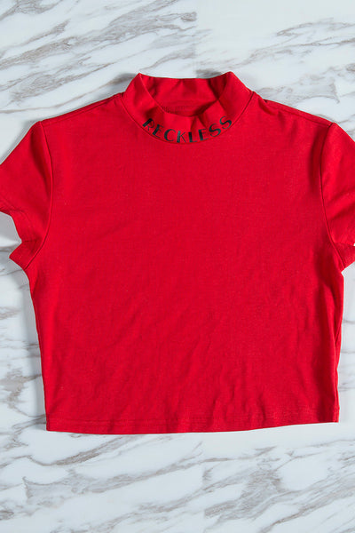 A| Chicloth 2018 New Summer Style Turtleneck Red Short Sleeve Crop Top Clothing - Chicloth