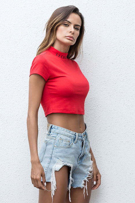 A| Chicloth 2018 New Summer Style Turtleneck Red Short Sleeve Crop Top Clothing-Chicloth