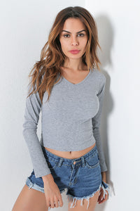 A| Chicloth New Arrival Women V-neck Long Sleeve Casual Tops Clothing - Chicloth