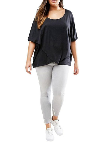 Chicloth Plus Size Scoop Neck Short Sleeves Asymmetric Hem T-Shirt-Plus Size Tops-Chicloth