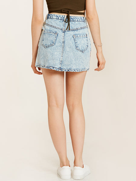 Chicloth Denim Blue Flower Embroidered Skirt
