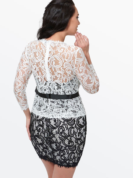 Chicloth black and white lace flower sexy bodycon dress