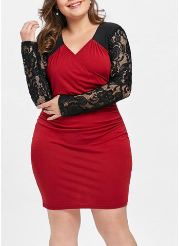 B| Chicloth Plus Size Lace V Neck Long Sleeve Contrast Color Dress-polyester,kneelength,sweetheart,plussizedresses-Chicloth