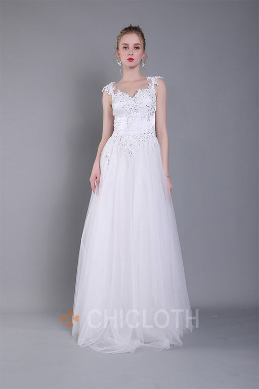 Chicloth A-Line Sweetheart Floor-Length Evening Dress