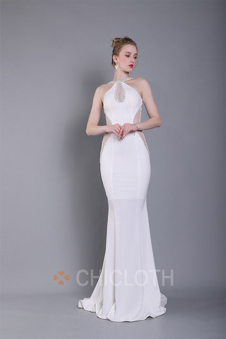 Chicloth Scoop Neck Chapel Train Stretch Crep Evening Dress
