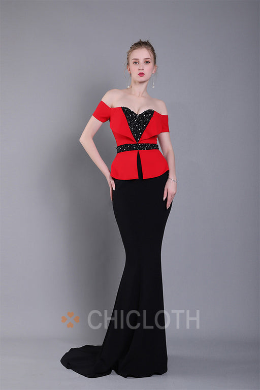 Chicloth Off-the-Shoulder Court Train Evening Dress