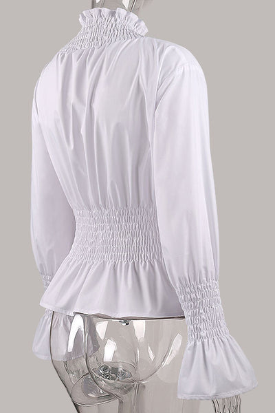 Chicloth White High Neck Long Sleeve Waist Shirt OL fashion clothes 04