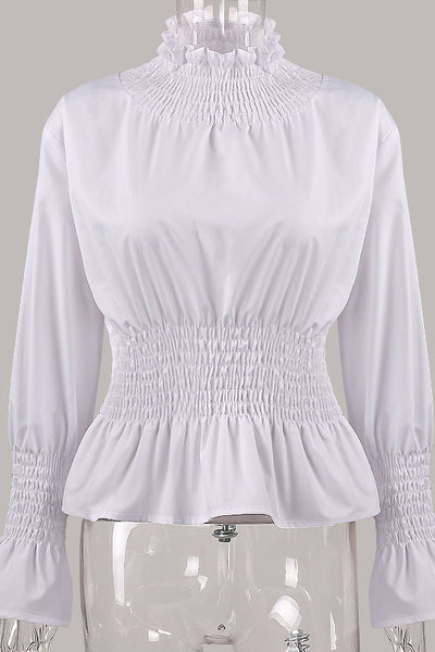 Chicloth White High Neck Long Sleeve Waist Shirt OL fashion clothes 05
