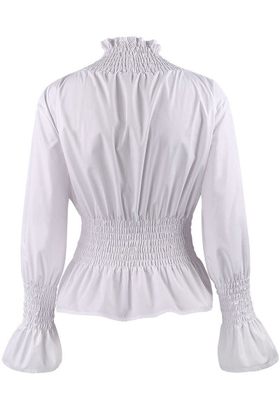 Chicloth White High Neck Long Sleeve Waist Shirt OL fashion clothes 06