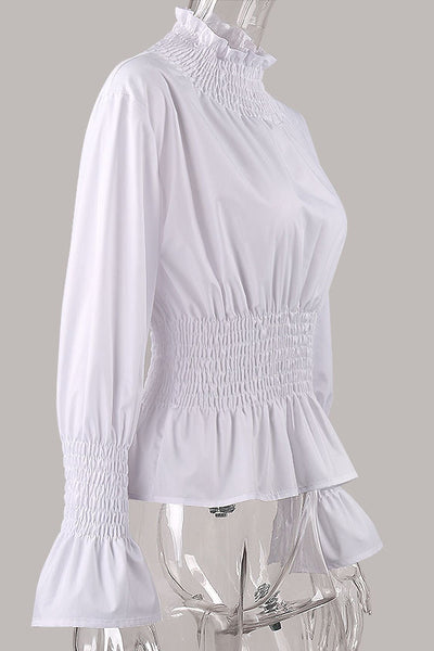 Chicloth White High Neck Long Sleeve Waist Shirt OL fashion clothes 07