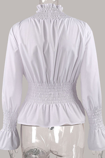 Chicloth White High Neck Long Sleeve Waist Shirt OL fashion clothes 10