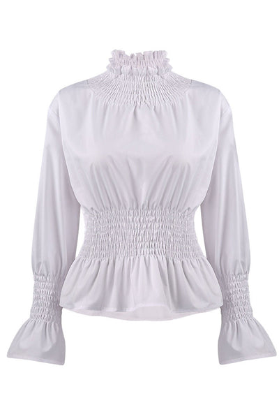 Chicloth White High Neck Long Sleeve Waist Shirt OL fashion clothes 11