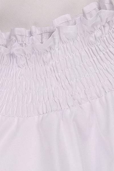 Chicloth White High Neck Long Sleeve Waist Shirt OL fashion clothes 12