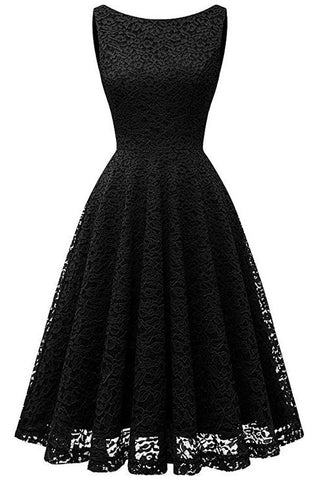 A| Chicloth V-Back Sleeveless Formal Cocktail Party Dress-lace dresses-Chicloth