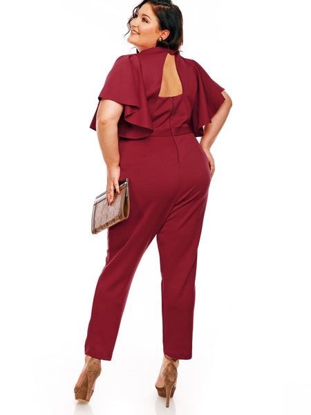 Chicloth Burgundy Lotus Leaf Sleeve Plus Size Jumpsuit