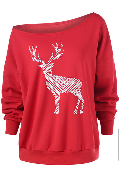A| Chicloth One Shoulder Elk Printed Bat Sleeve Sweatshirt-Christmas Fashions-Chicloth